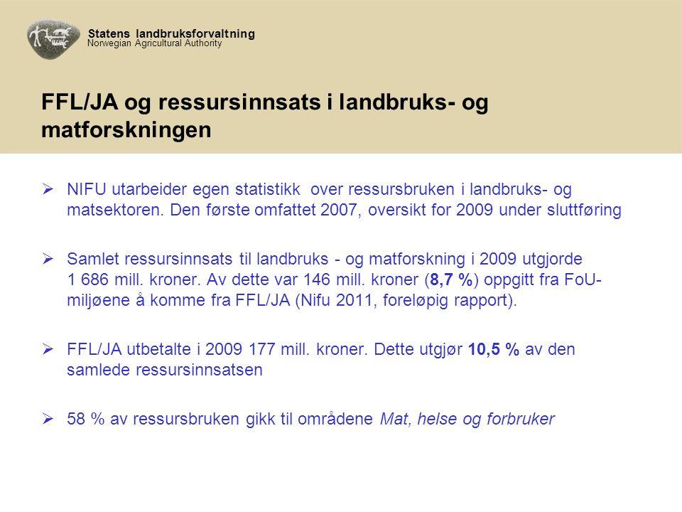 Statens landbruksforvaltning Norwegian Agricultural Authority FFL/JA og ressursinnsats i landbruks- og matforskningen  NIFU utarbeider egen statistikk over ressursbruken i landbruks- og matsektoren.