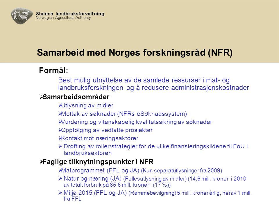 Statens landbruksforvaltning Norwegian Agricultural Authority Samarbeid med Norges forskningsråd (NFR) Formål: Best mulig utnyttelse av de samlede ressurser i mat- og landbruksforskningen og å redusere administrasjonskostnader  Samarbeidsområder  Utlysning av midler  Mottak av søknader (NFRs eSøknadssystem)  Vurdering og vitenskapelig kvalitetssikring av søknader  Oppfølging av vedtatte prosjekter  Kontakt mot næringsaktører  Drøfting av roller/strategier for de ulike finansieringskildene til FoU i landbruksektoren  Faglige tilknytningspunkter i NFR  Matprogrammet (FFL og JA) (Kun separatutlysninger fra 2009)  Natur og næring (JA) (Fellesutlysning av midler) (14,6 mill.
