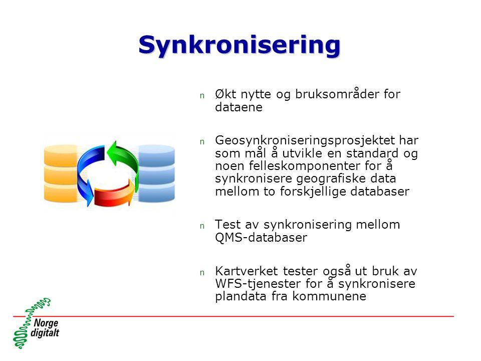Synkronisering n Økt nytte og bruksområder for dataene n Geosynkroniseringsprosjektet har som mål å utvikle en standard og noen felleskomponenter for å synkronisere geografiske data mellom to forskjellige databaser n Test av synkronisering mellom QMS-databaser n Kartverket tester også ut bruk av WFS-tjenester for å synkronisere plandata fra kommunene