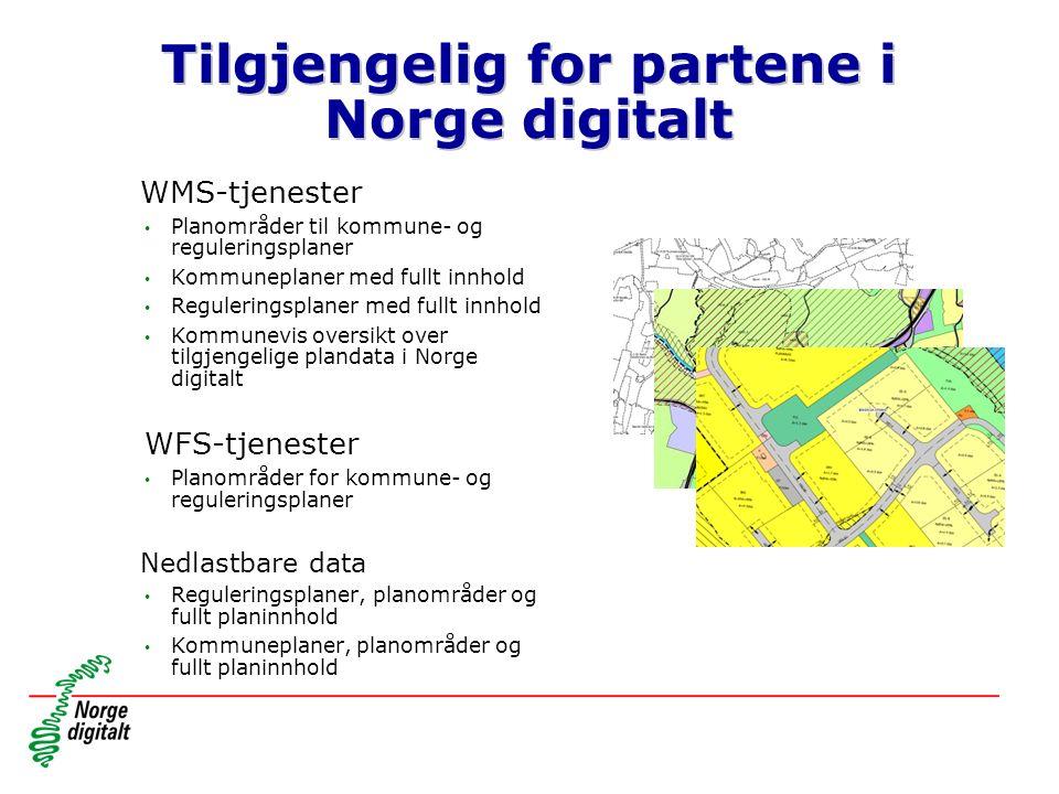 Tilgjengelig for partene i Norge digitalt WMS-tjenester Planområder til kommune- og reguleringsplaner Kommuneplaner med fullt innhold Reguleringsplaner med fullt innhold Kommunevis oversikt over tilgjengelige plandata i Norge digitalt WFS-tjenester Planområder for kommune- og reguleringsplaner Nedlastbare data Reguleringsplaner, planområder og fullt planinnhold Kommuneplaner, planområder og fullt planinnhold
