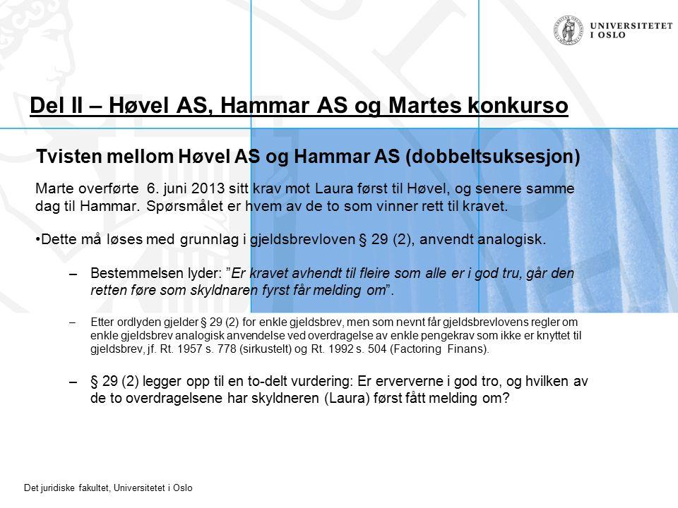 Det juridiske fakultet, Universitetet i Oslo Del II – Høvel AS, Hammar AS og Martes konkurso Tvisten mellom Høvel AS og Hammar AS (dobbeltsuksesjon) Marte overførte 6.