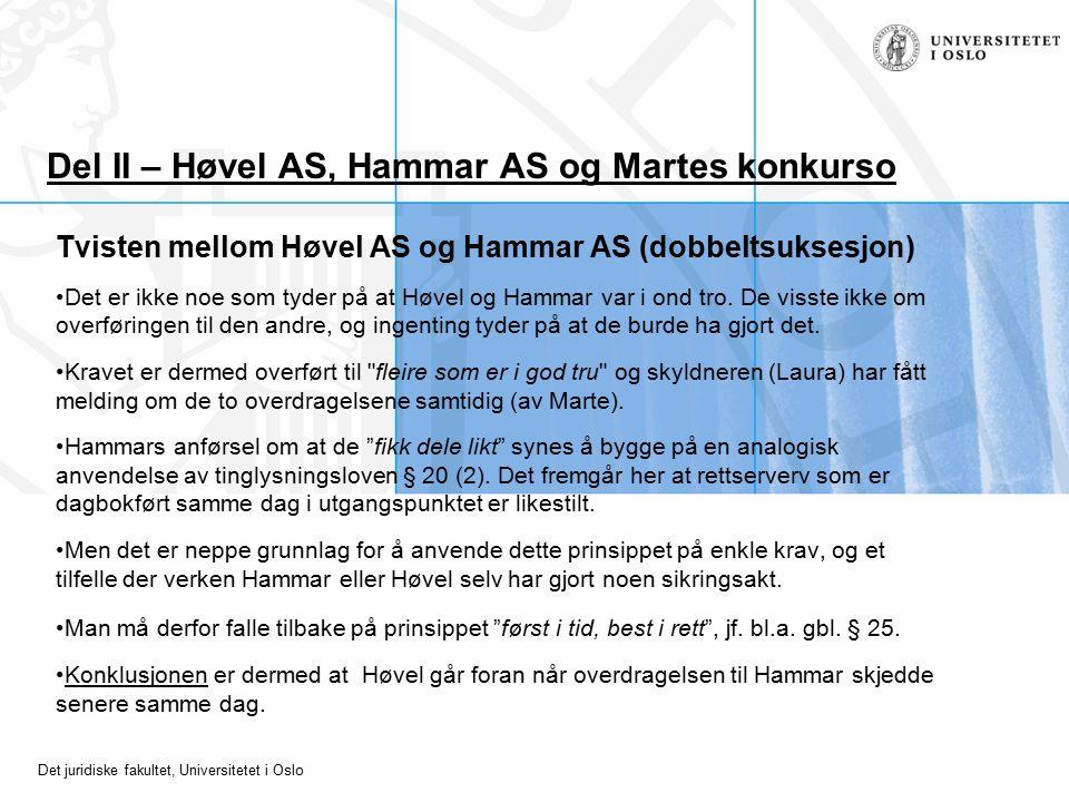 Det juridiske fakultet, Universitetet i Oslo Del II – Høvel AS, Hammar AS og Martes konkurso Tvisten mellom Høvel AS og Hammar AS (dobbeltsuksesjon) Det er ikke noe som tyder på at Høvel og Hammar var i ond tro.