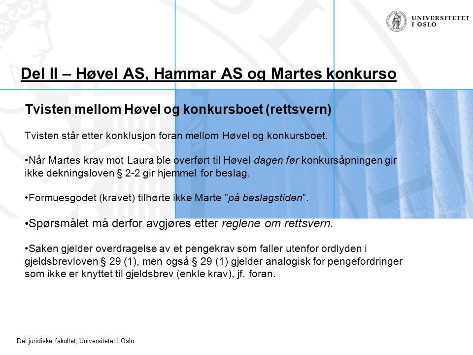Det juridiske fakultet, Universitetet i Oslo Del II – Høvel AS, Hammar AS og Martes konkurso Tvisten mellom Høvel og konkursboet (rettsvern) Tvisten står etter konklusjon foran mellom Høvel og konkursboet.