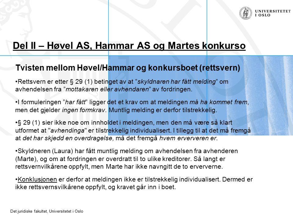 Det juridiske fakultet, Universitetet i Oslo Del II – Høvel AS, Hammar AS og Martes konkurso Tvisten mellom Høvel/Hammar og konkursboet (rettsvern) Rettsvern er etter § 29 (1) betinget av at skyldnaren har fått melding om avhendelsen fra mottakaren eller avhendaren av fordringen.
