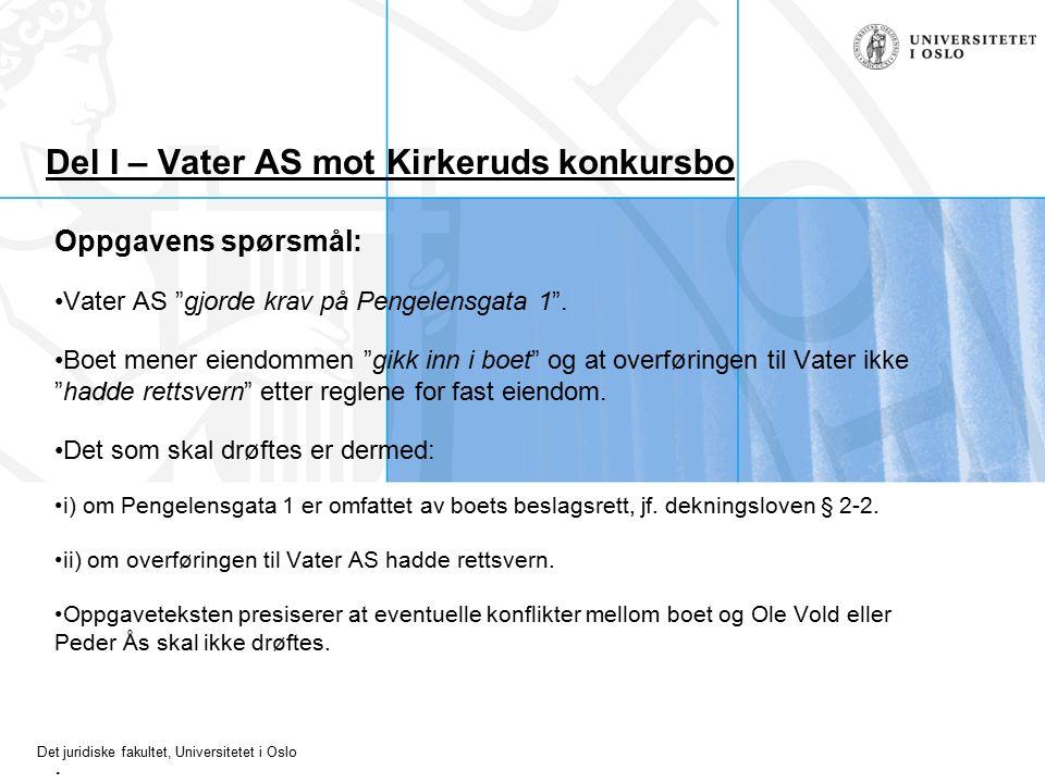 Det juridiske fakultet, Universitetet i Oslo Del I – Vater AS mot Kirkeruds konkursbo Oppgavens spørsmål: Vater AS gjorde krav på Pengelensgata 1 .