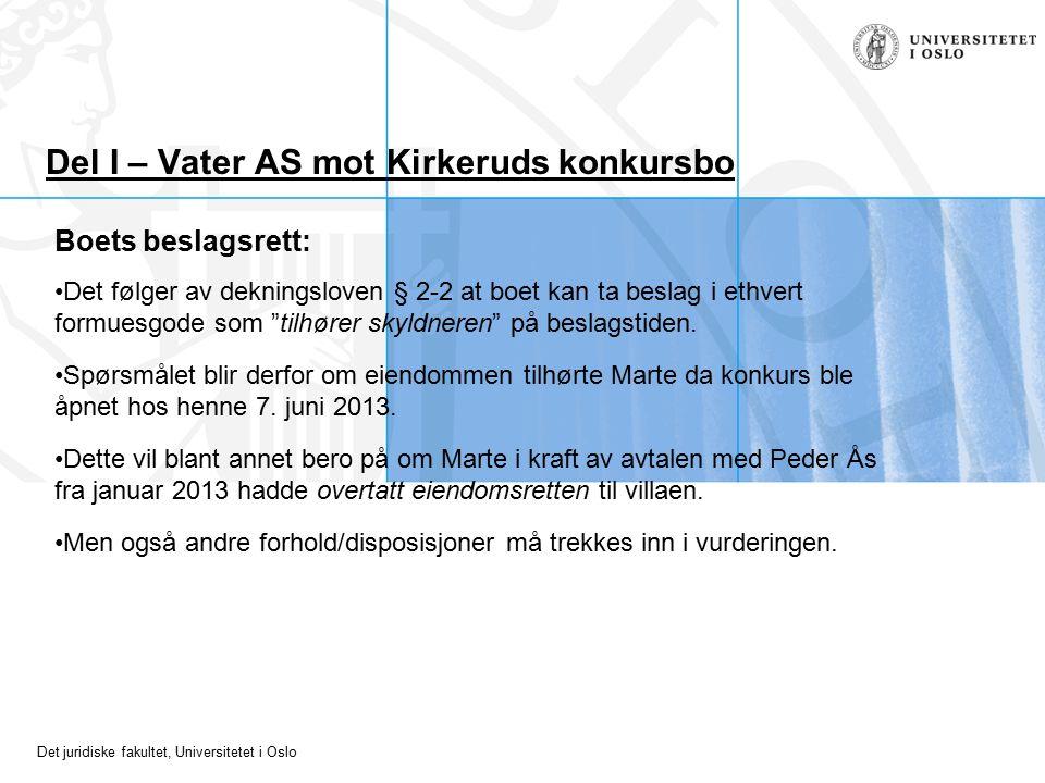 Det juridiske fakultet, Universitetet i Oslo Del I – Vater AS mot Kirkeruds konkursbo Boets beslagsrett: Det følger av dekningsloven § 2-2 at boet kan ta beslag i ethvert formuesgode som tilhører skyldneren på beslagstiden.