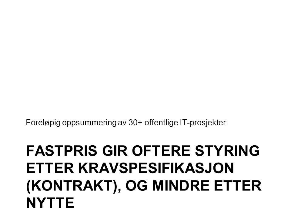 FASTPRIS GIR OFTERE STYRING ETTER KRAVSPESIFIKASJON (KONTRAKT), OG MINDRE ETTER NYTTE Foreløpig oppsummering av 30+ offentlige IT-prosjekter: