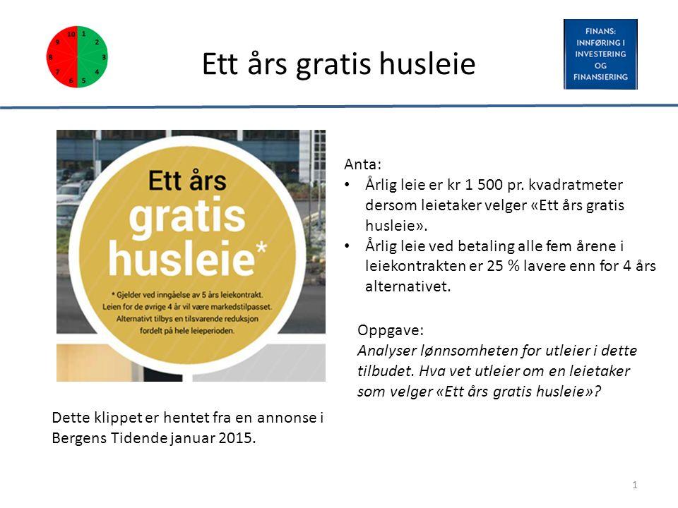 Ett års gratis husleie Dette klippet er hentet fra en annonse i Bergens Tidende januar 2015. 1 Anta: Årlig leie er kr 1 500 pr. kvadratmeter dersom le