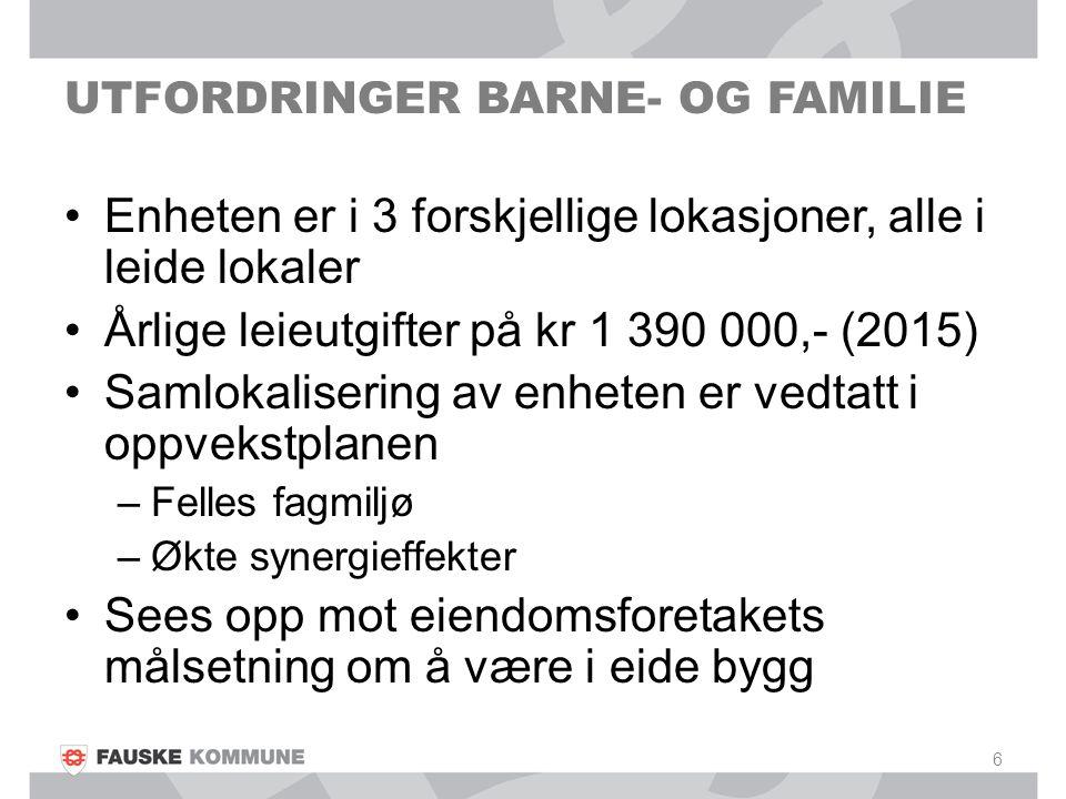 UTFORDRINGER BARNE- OG FAMILIE Enheten er i 3 forskjellige lokasjoner, alle i leide lokaler Årlige leieutgifter på kr 1 390 000,- (2015) Samlokaliseri