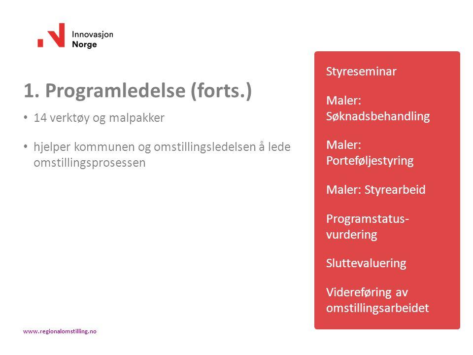 1. Programledelse (forts.) 14 verktøy og malpakker hjelper kommunen og omstillingsledelsen å lede omstillingsprosessen Styreseminar Maler: Søknadsbeha