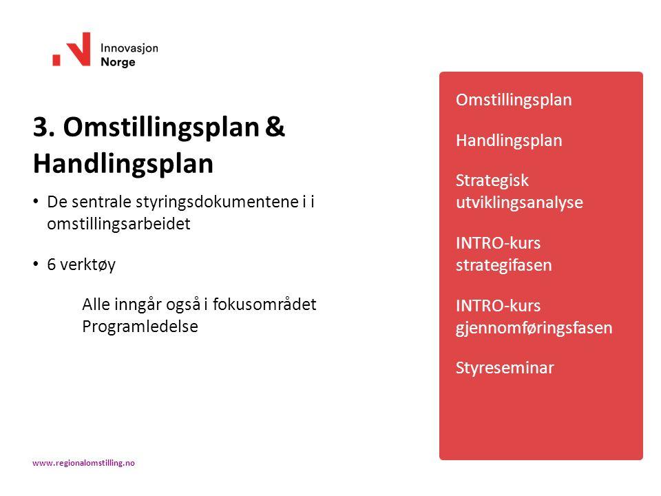3. Omstillingsplan & Handlingsplan De sentrale styringsdokumentene i i omstillingsarbeidet 6 verktøy Alle inngår også i fokusområdet Programledelse Om