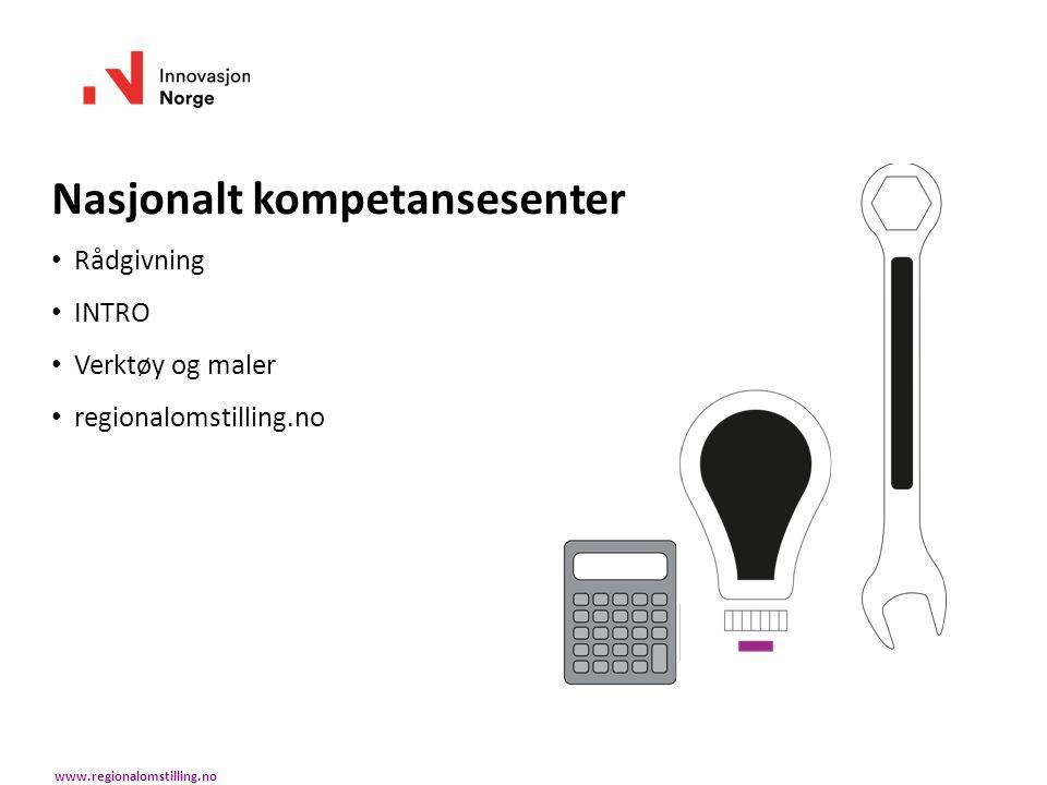 Nasjonalt kompetansesenter Rådgivning INTRO Verktøy og maler regionalomstilling.no www.regionalomstilling.no
