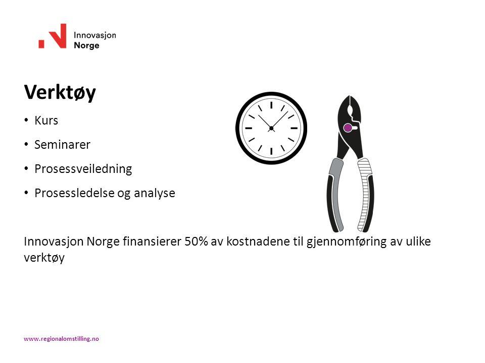 Verktøy Kurs Seminarer Prosessveiledning Prosessledelse og analyse Innovasjon Norge finansierer 50% av kostnadene til gjennomføring av ulike verktøy www.regionalomstilling.no