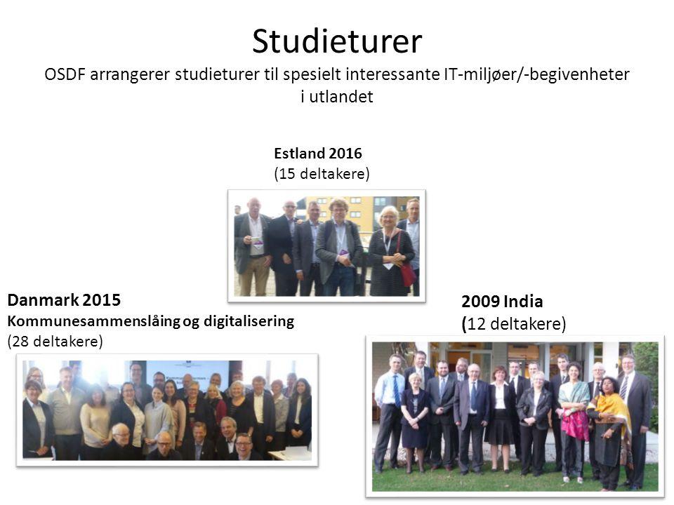 Studieturer OSDF arrangerer studieturer til spesielt interessante IT-miljøer/-begivenheter i utlandet Danmark 2015 Kommunesammenslåing og digitalisering (28 deltakere) 2009 India (12 deltakere) Estland 2016 (15 deltakere)
