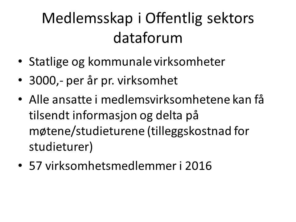 Medlemsskap i Offentlig sektors dataforum Statlige og kommunale virksomheter 3000,- per år pr.