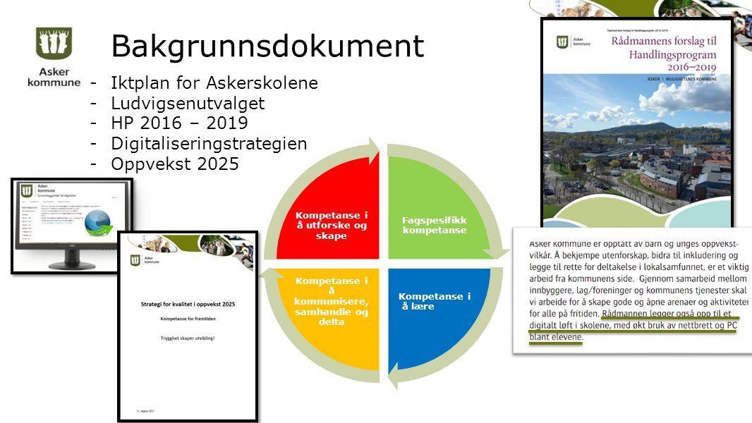 Bakgrunnsdokument -Iktplan for Askerskolene -Ludvigsenutvalget -HP 2016 – 2019 -Digitaliseringstrategien -Oppvekst 2025 Fagspesifikk kompetanse Kompetanse i å lære Kompetanse i å kommunisere, samhandle og delta Kompetanse i å utforske og skape