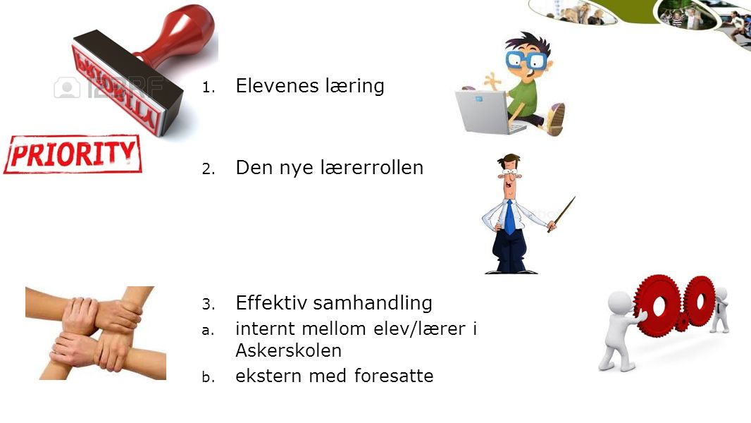 1. Elevenes læring 2. Den nye lærerrollen 3. Effektiv samhandling a. internt mellom elev/lærer i Askerskolen b. ekstern med foresatte