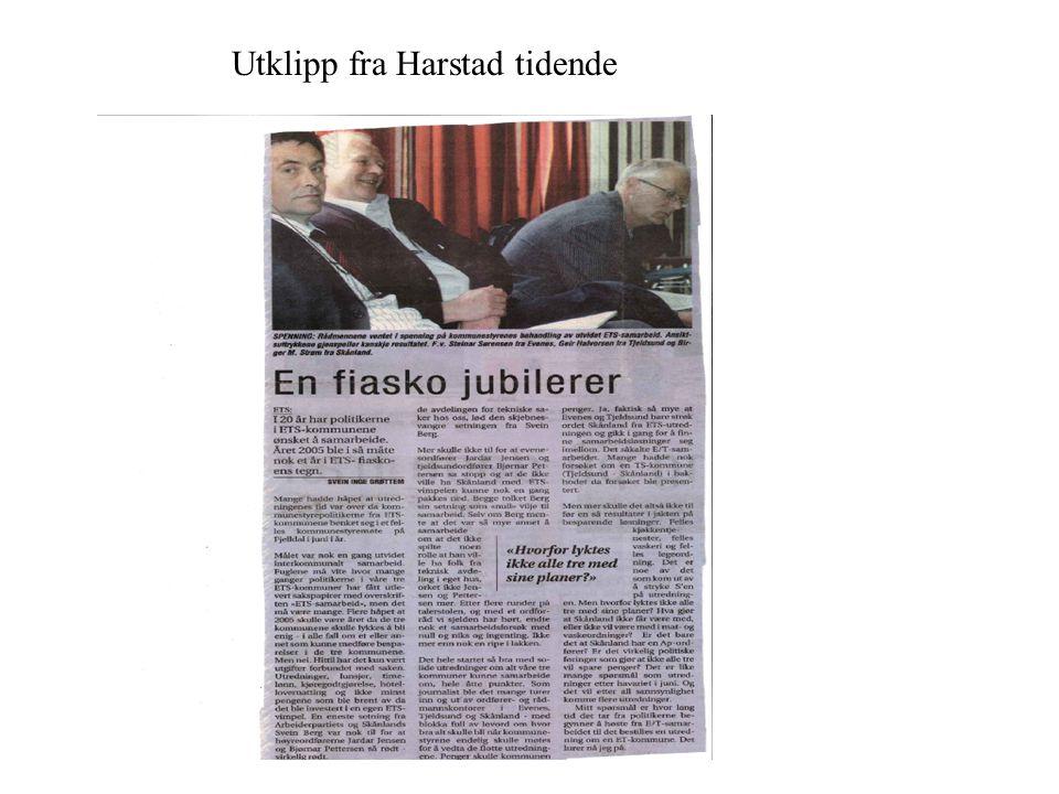 ETS-KOMMUNE SAMARBEID Kommune samarbeid kan være vanskelig Har forsøkt i 20 år uten å lykkes Folkeavstemning i 2001, kommune sammenslåing Skånland og Tjeldsund