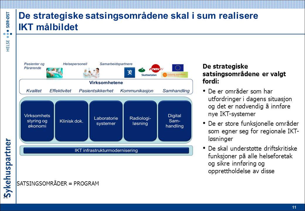 11 De strategiske satsingsområdene skal i sum realisere IKT målbildet 11 SATSINGSOMRÅDER = PROGRAM De strategiske satsingsområdene er valgt fordi: De er områder som har utfordringer i dagens situasjon og det er nødvendig å innføre nye IKT-systemer De er store funksjonelle områder som egner seg for regionale IKT- løsninger De skal understøtte driftskritiske funksjoner på alle helseforetak og sikre innføring og opprettholdelse av disse