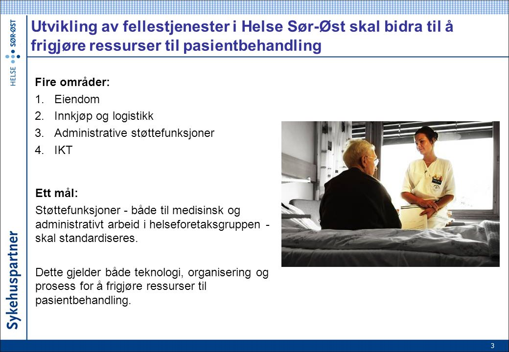 3 Utvikling av fellestjenester i Helse Sør-Øst skal bidra til å frigjøre ressurser til pasientbehandling Fire områder: 1.Eiendom 2.Innkjøp og logistikk 3.Administrative støttefunksjoner 4.IKT Ett mål: Støttefunksjoner - både til medisinsk og administrativt arbeid i helseforetaksgruppen - skal standardiseres.