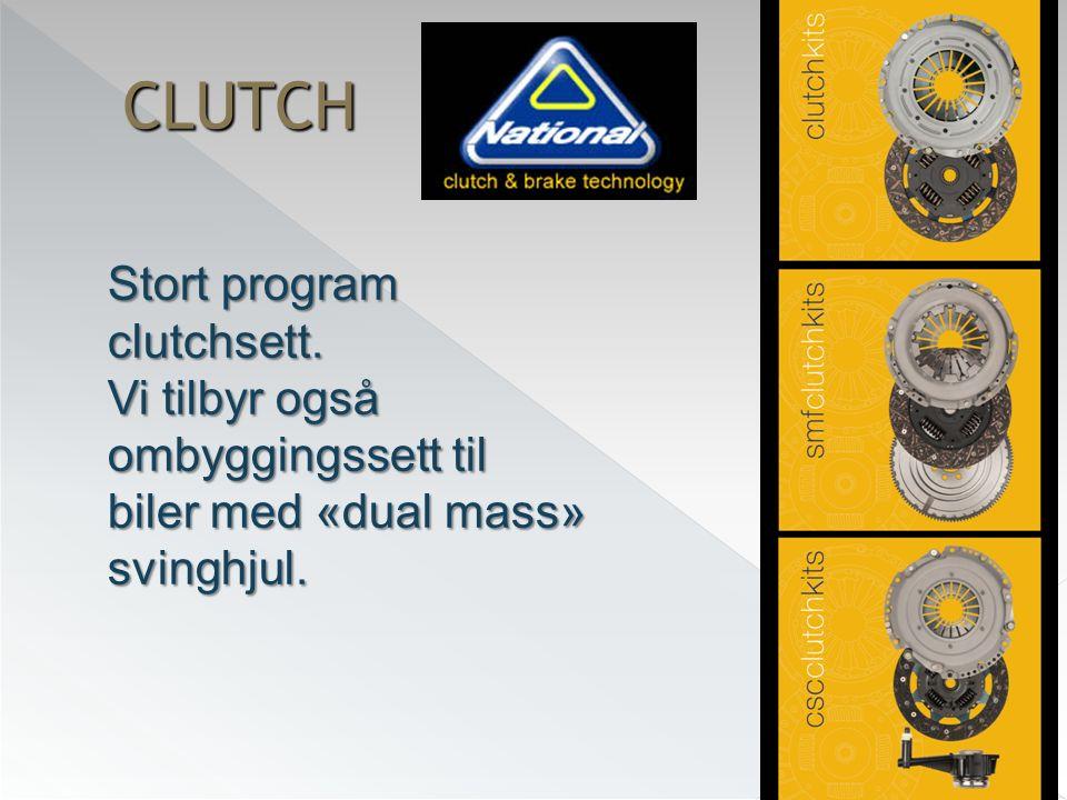 CLUTCH Stort program clutchsett. Vi tilbyr også ombyggingssett til biler med «dual mass» svinghjul.