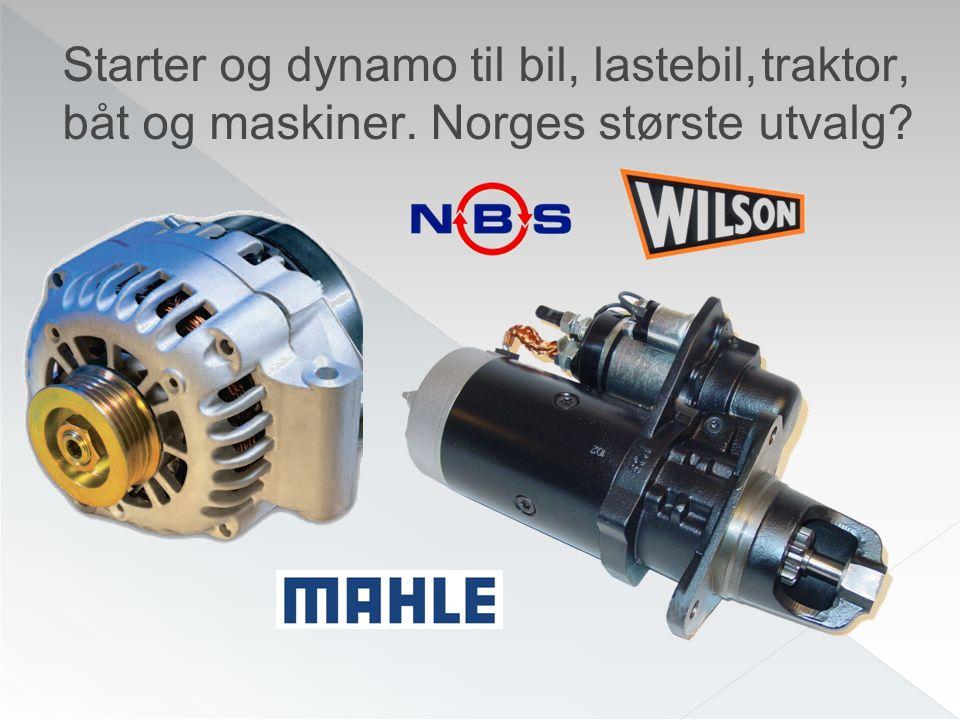 Starter og dynamo til bil, lastebil, traktor, båt og maskiner. Norges største utvalg?