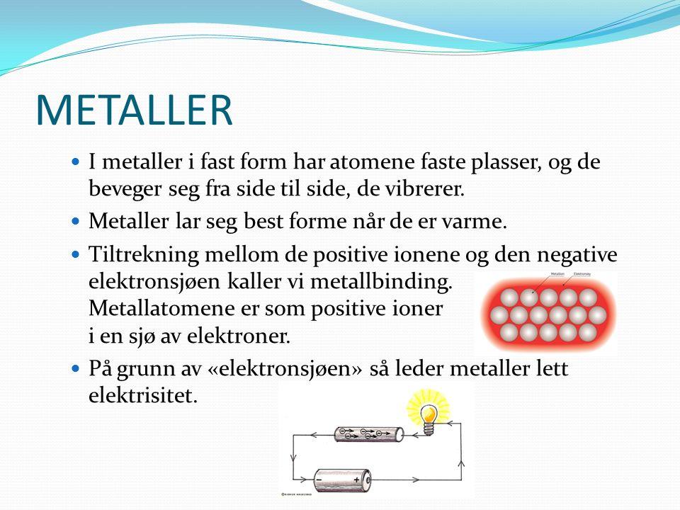 METALLER I metaller i fast form har atomene faste plasser, og de beveger seg fra side til side, de vibrerer.