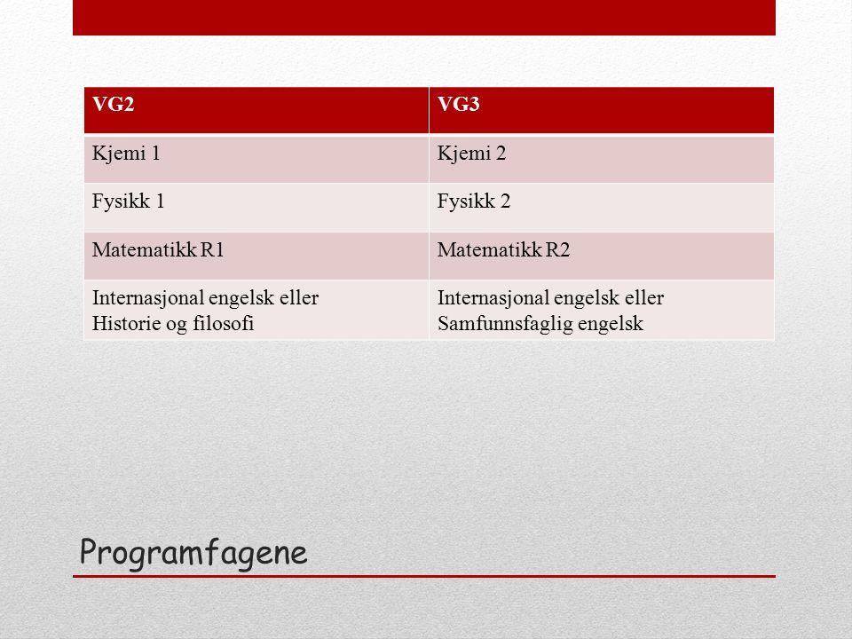 Programfagene VG2VG3 Kjemi 1Kjemi 2 Fysikk 1Fysikk 2 Matematikk R1Matematikk R2 Internasjonal engelsk eller Historie og filosofi Internasjonal engelsk eller Samfunnsfaglig engelsk