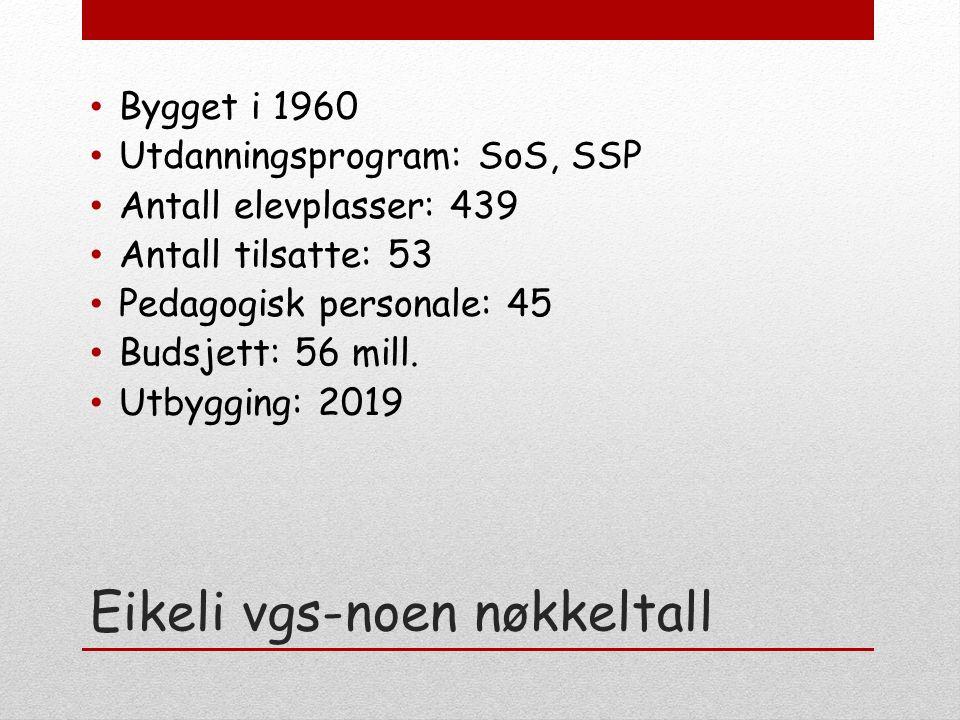 Eikeli vgs-noen nøkkeltall Bygget i 1960 Utdanningsprogram: SoS, SSP Antall elevplasser: 439 Antall tilsatte: 53 Pedagogisk personale: 45 Budsjett: 56 mill.