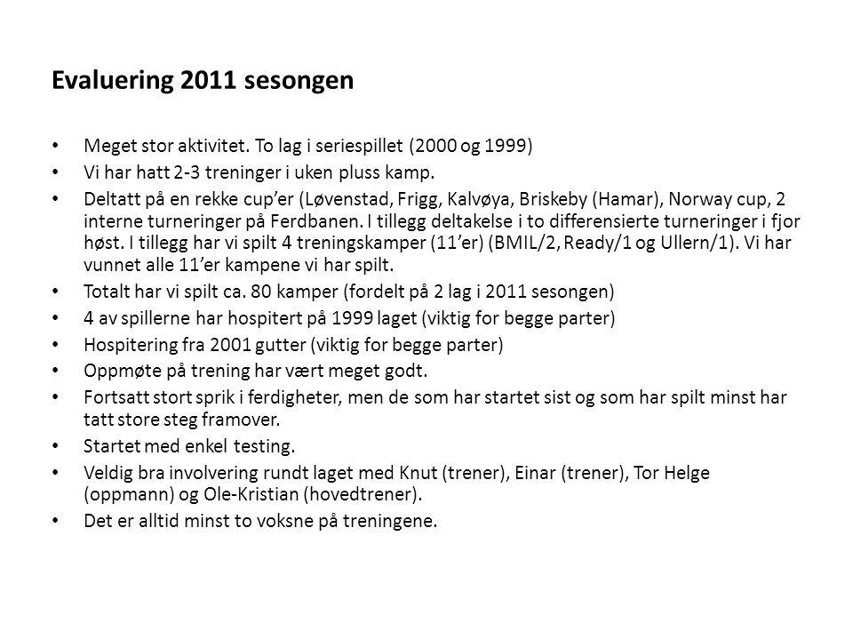 Evaluering 2011 sesongen Meget stor aktivitet.