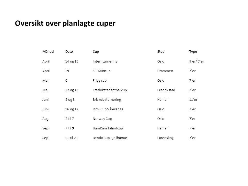 Oversikt over planlagte cuper MånedDatoCupStedType April14 og 15InternturneringOslo9`er/ 7`er April29SIF MinicupDrammen7`er Mai6Frigg cupOslo7`er Mai12 og 13Fredrikstad fotballcupFredrikstad7`er Juni2 og 3BriskebyturneringHamar11`er Juni16 og 17Rimi Cup VålerengaOslo7`er Aug2 til 7Norway CupOslo7`er Sep7 til 9HamKam TalentcupHamar7`er Sep21 til 23Bendit Cup FjellhamarLørenskog7`er
