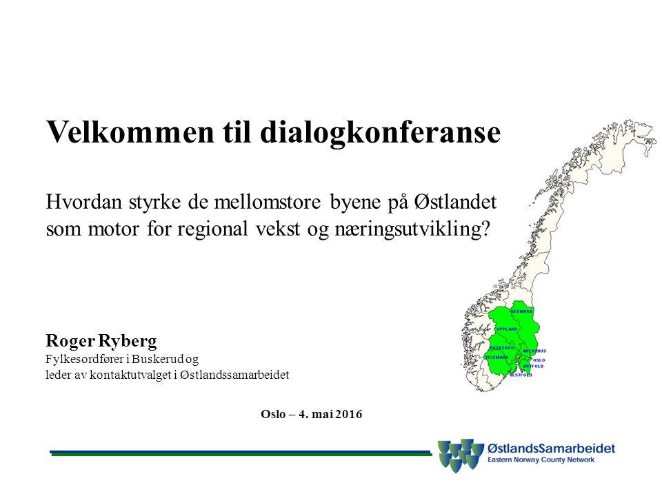 Velkommen til dialogkonferanse Hvordan styrke de mellomstore byene på Østlandet som motor for regional vekst og næringsutvikling.