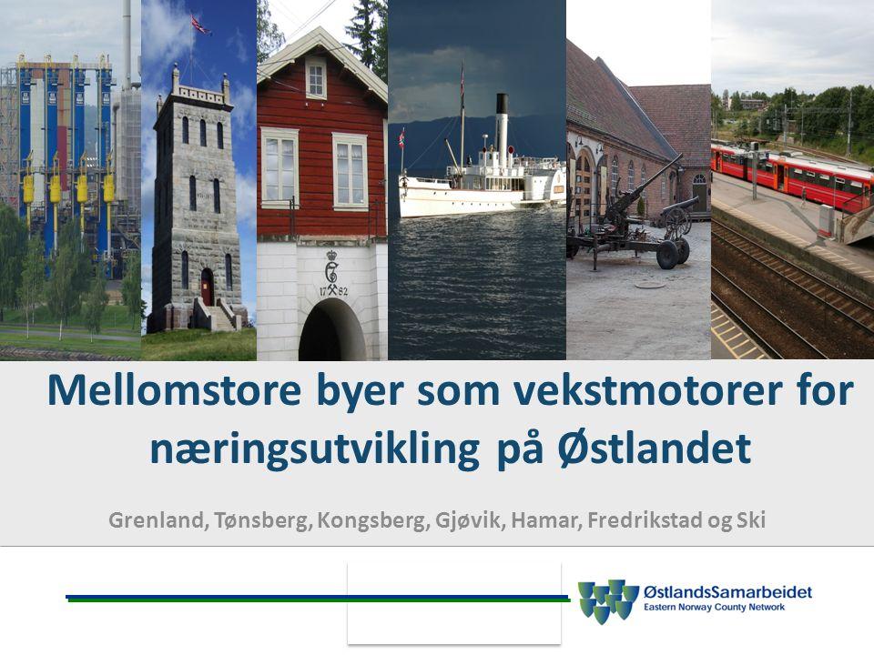 Mellomstore byer som vekstmotorer for næringsutvikling på Østlandet Grenland, Tønsberg, Kongsberg, Gjøvik, Hamar, Fredrikstad og Ski