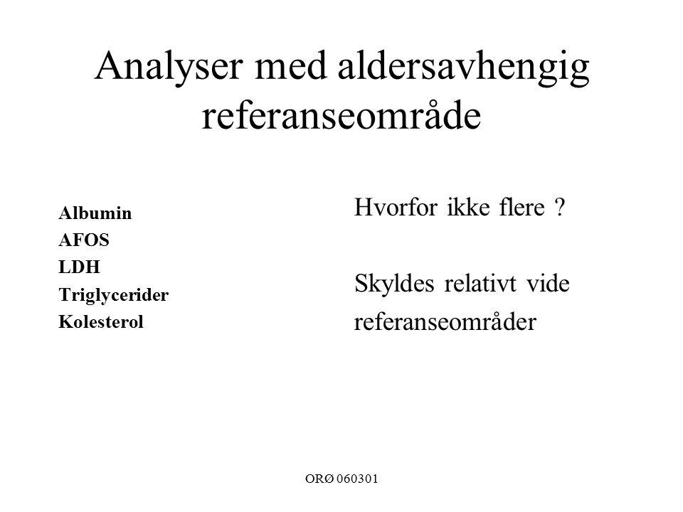 ORØ 060301 Analyser med aldersavhengig referanseområde Albumin AFOS LDH Triglycerider Kolesterol Hvorfor ikke flere .