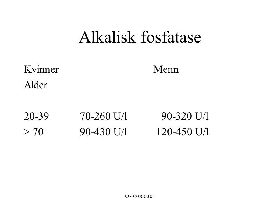 ORØ 060301 Alkalisk fosfatase Kvinner Alder 20-3970-260 U/l > 70 90-430 U/l Menn 90-320 U/l 120-450 U/l