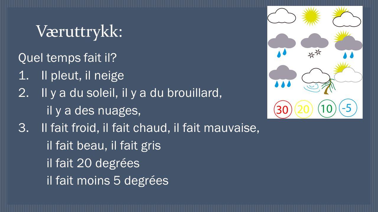 Væruttrykk: Quel temps fait il.