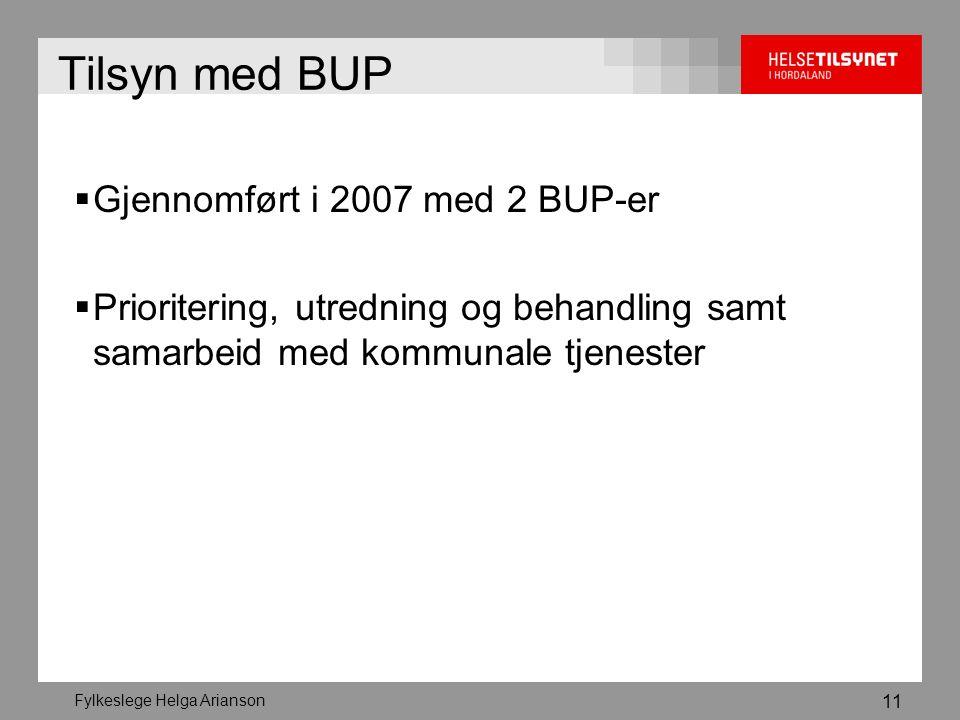 Fylkeslege Helga Arianson 11 Tilsyn med BUP  Gjennomført i 2007 med 2 BUP-er  Prioritering, utredning og behandling samt samarbeid med kommunale tjenester