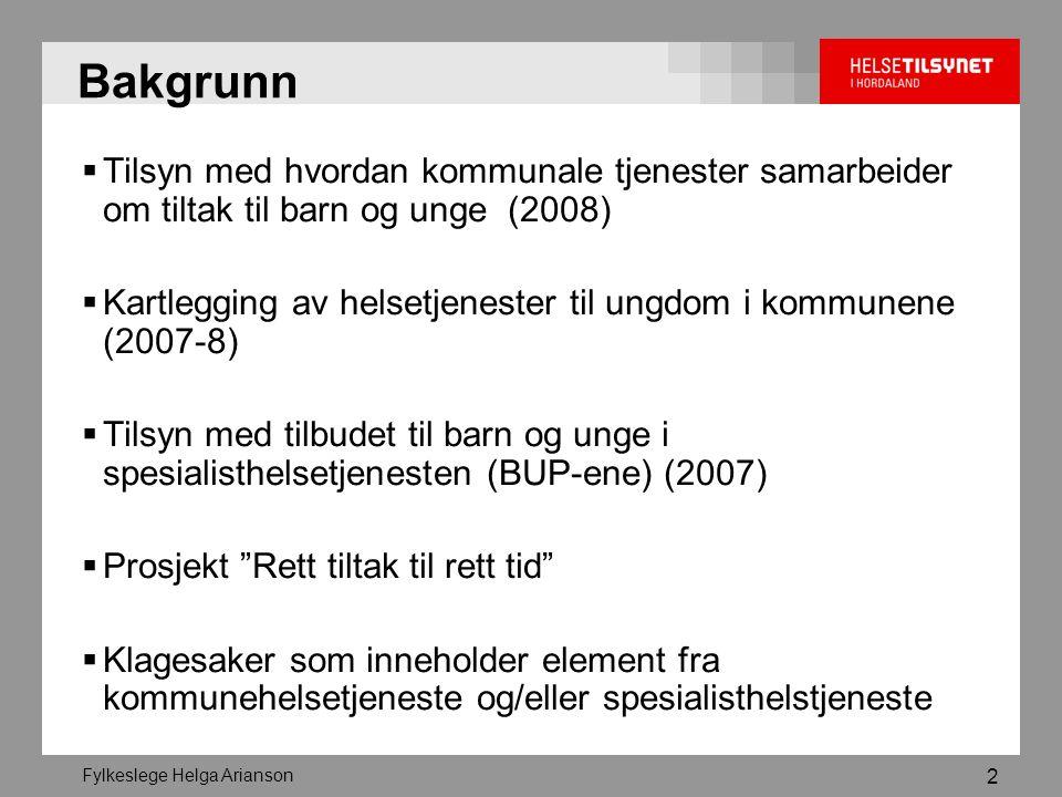 2 Bakgrunn  Tilsyn med hvordan kommunale tjenester samarbeider om tiltak til barn og unge (2008)  Kartlegging av helsetjenester til ungdom i kommunene (2007-8)  Tilsyn med tilbudet til barn og unge i spesialisthelsetjenesten (BUP-ene) (2007)  Prosjekt Rett tiltak til rett tid  Klagesaker som inneholder element fra kommunehelsetjeneste og/eller spesialisthelstjeneste