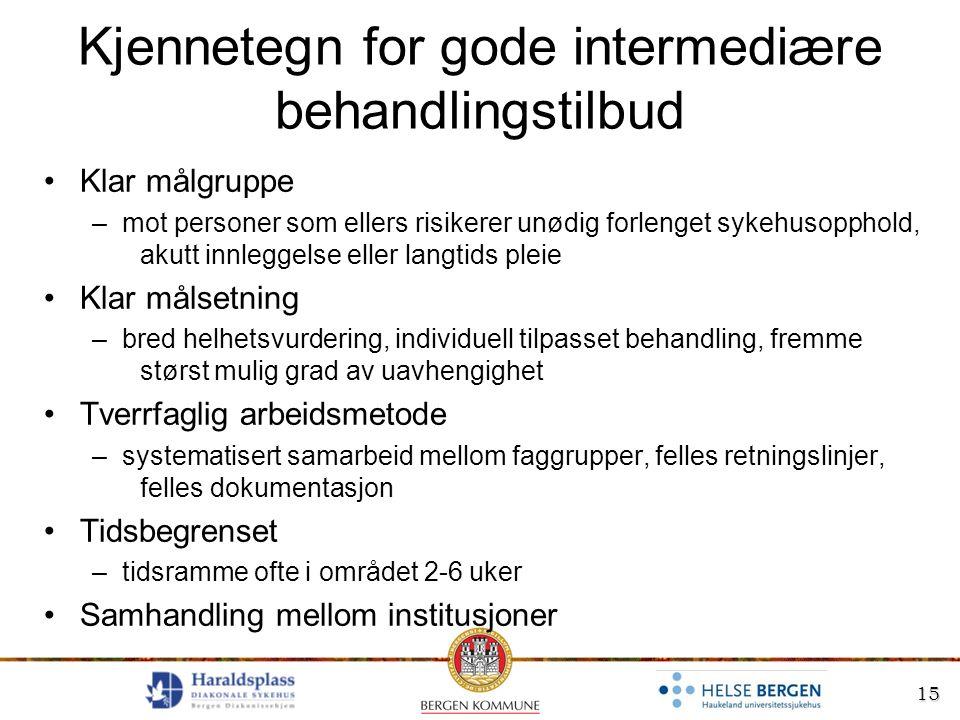 15 Kjennetegn for gode intermediære behandlingstilbud Klar målgruppe –mot personer som ellers risikerer unødig forlenget sykehusopphold, akutt innlegg
