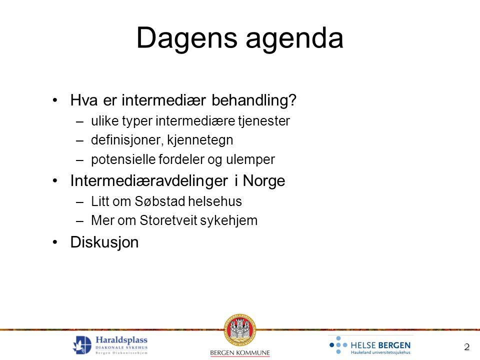 2 Dagens agenda Hva er intermediær behandling? –ulike typer intermediære tjenester –definisjoner, kjennetegn –potensielle fordeler og ulemper Intermed