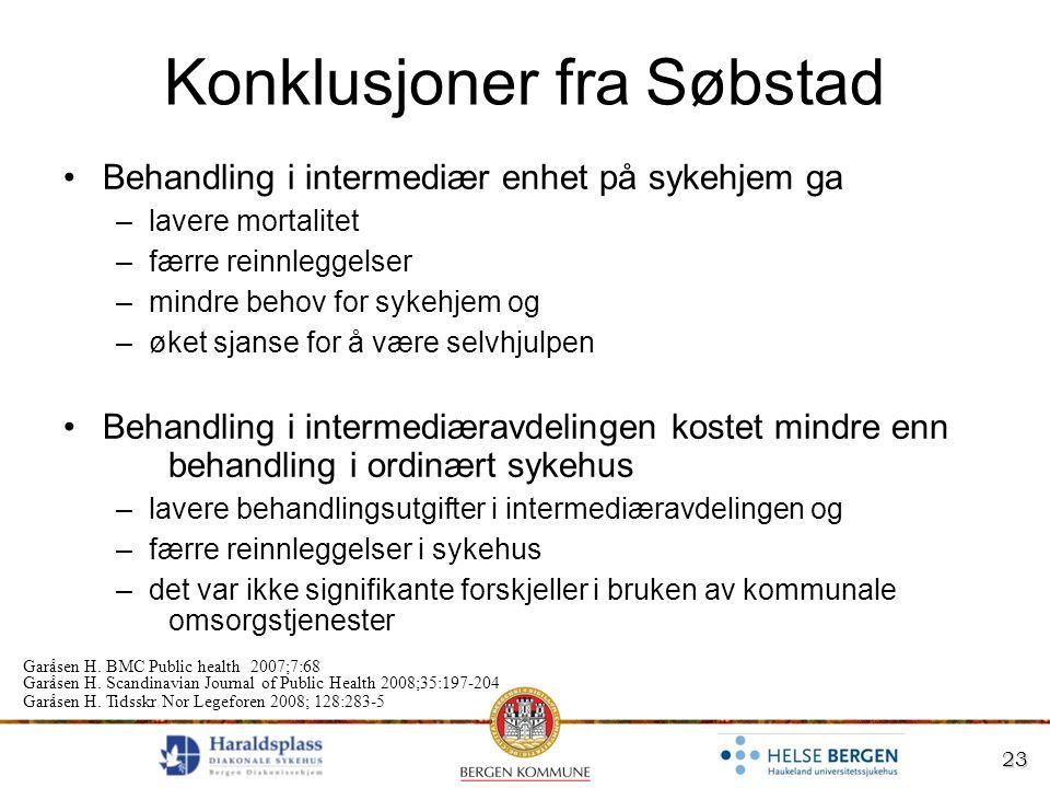 23 Konklusjoner fra Søbstad Behandling i intermediær enhet på sykehjem ga –lavere mortalitet –færre reinnleggelser –mindre behov for sykehjem og –øket