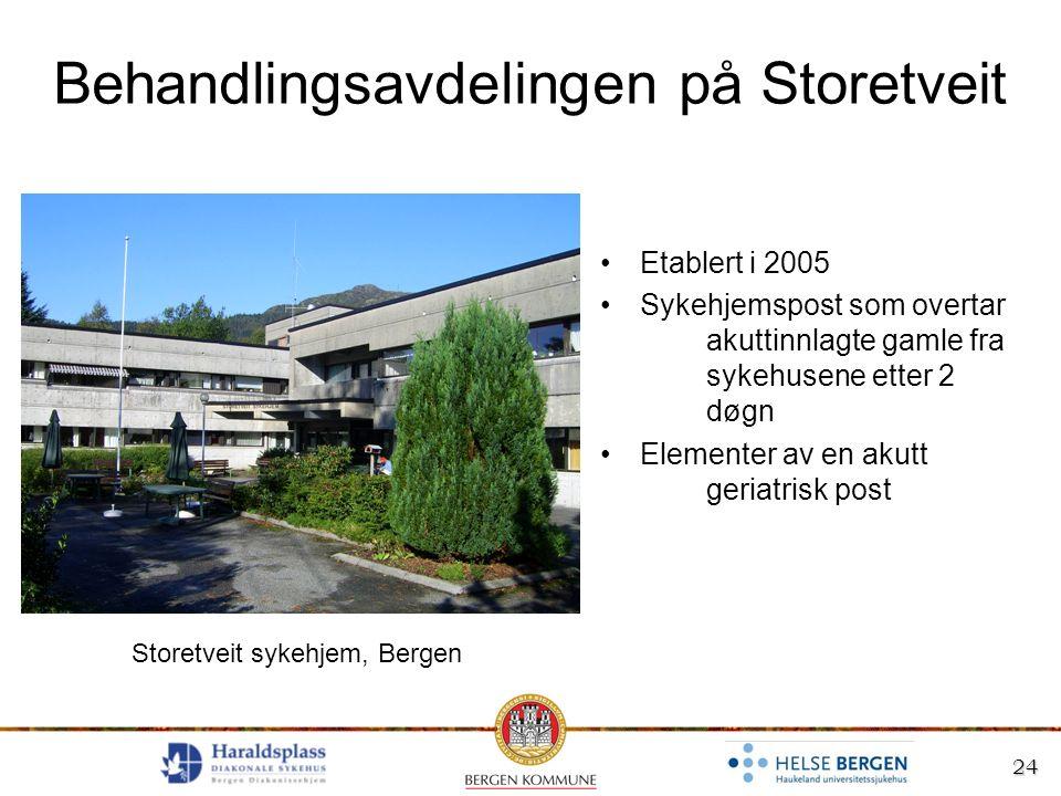 24 Behandlingsavdelingen på Storetveit Etablert i 2005 Sykehjemspost som overtar akuttinnlagte gamle fra sykehusene etter 2 døgn Elementer av en akutt