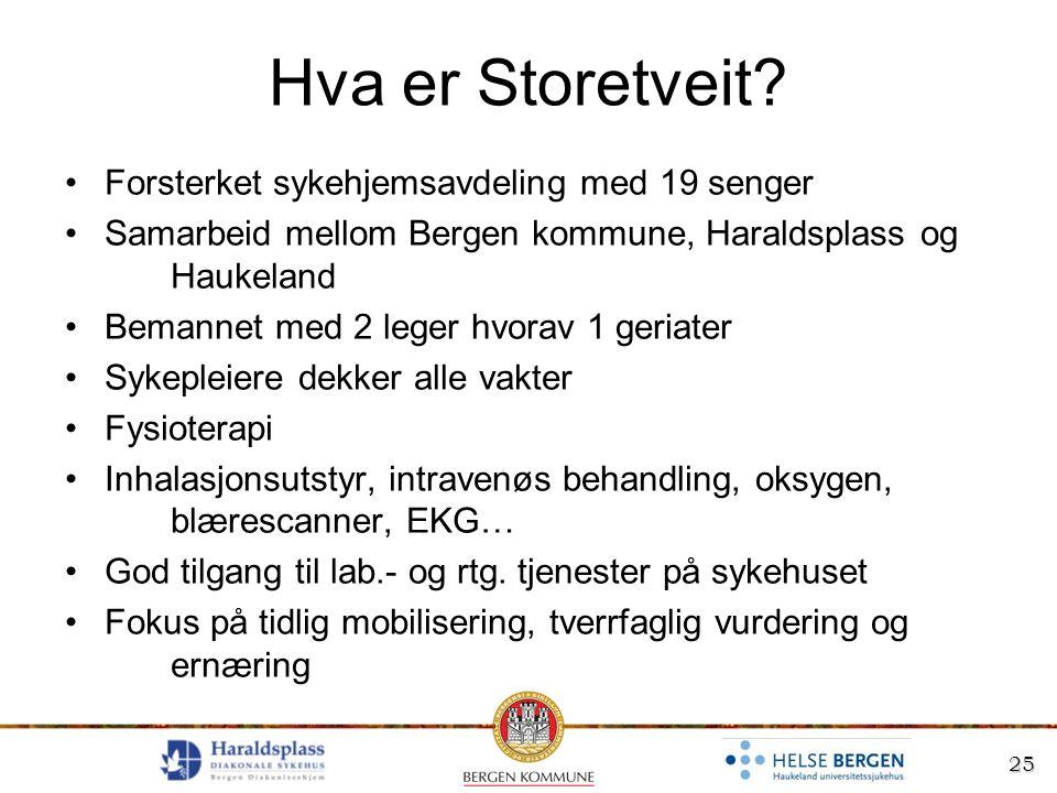 25 Hva er Storetveit? Forsterket sykehjemsavdeling med 19 senger Samarbeid mellom Bergen kommune, Haraldsplass og Haukeland Bemannet med 2 leger hvora