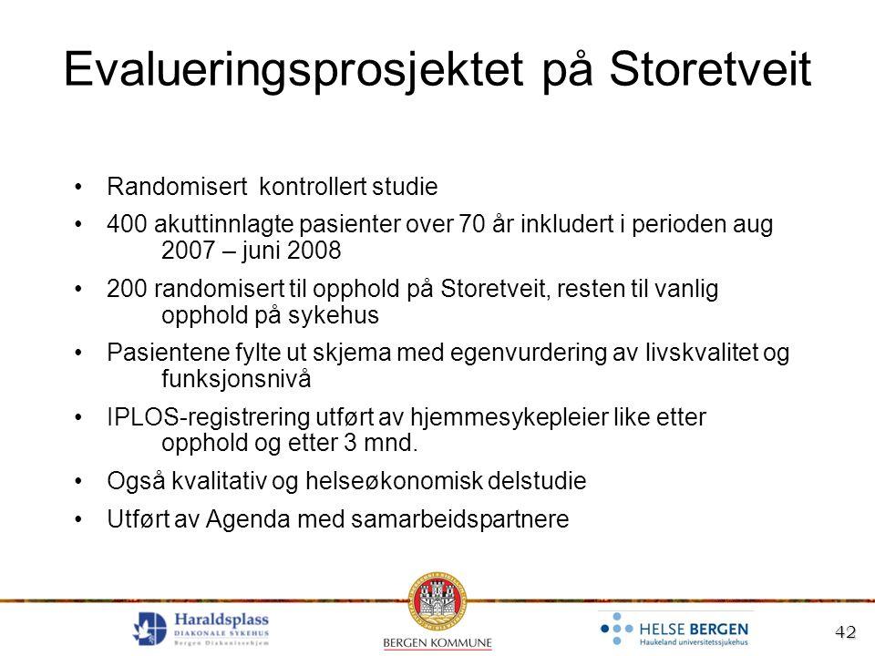 42 Evalueringsprosjektet på Storetveit Randomisert kontrollert studie 400 akuttinnlagte pasienter over 70 år inkludert i perioden aug 2007 – juni 2008