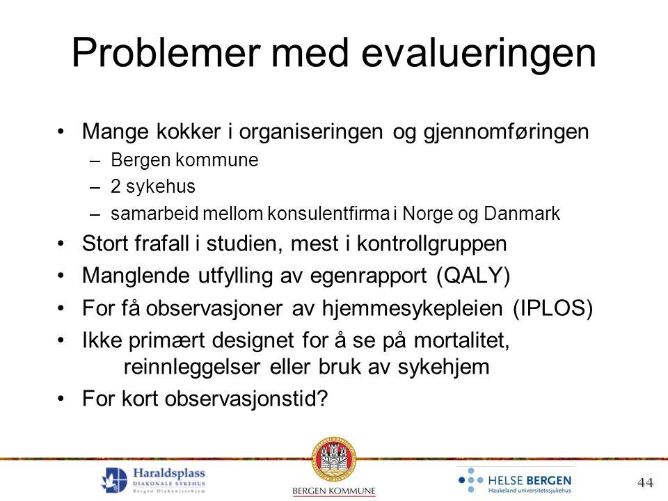 44 Problemer med evalueringen Mange kokker i organiseringen og gjennomføringen –Bergen kommune –2 sykehus –samarbeid mellom konsulentfirma i Norge og