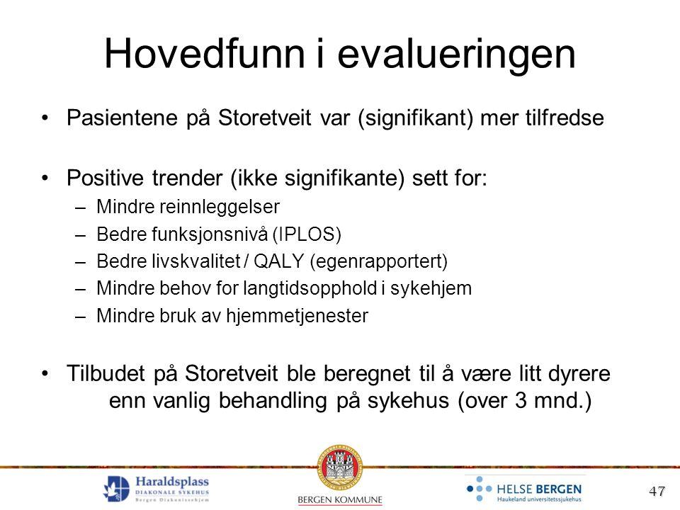 47 Hovedfunn i evalueringen Pasientene på Storetveit var (signifikant) mer tilfredse Positive trender (ikke signifikante) sett for: –Mindre reinnlegge