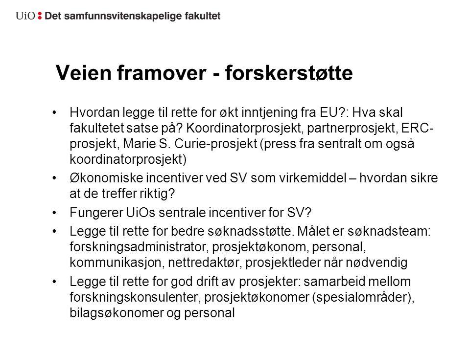 Veien framover - forskerstøtte Hvordan legge til rette for økt inntjening fra EU?: Hva skal fakultetet satse på? Koordinatorprosjekt, partnerprosjekt,