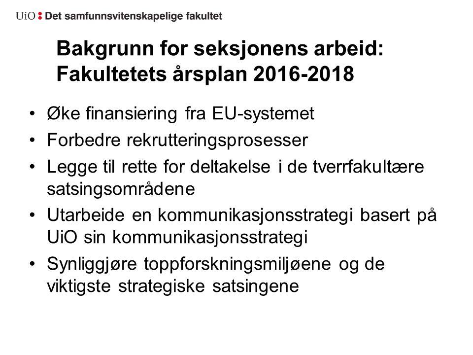 Bakgrunn for seksjonens arbeid: Fakultetets årsplan 2016-2018 Øke finansiering fra EU-systemet Forbedre rekrutteringsprosesser Legge til rette for del
