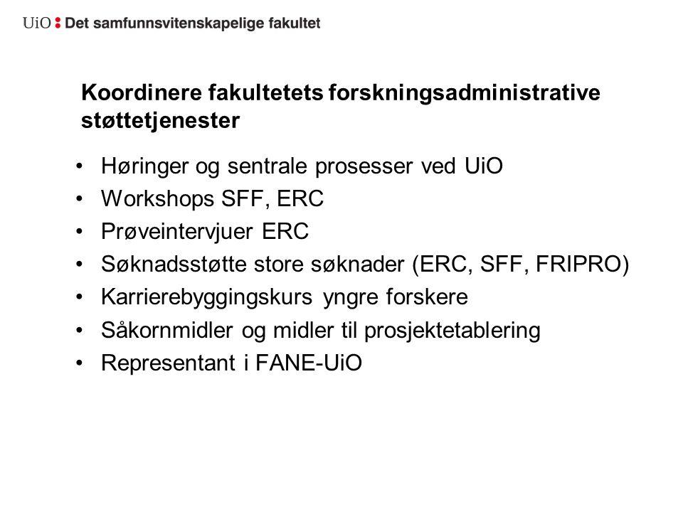 Koordinere fakultetets forskningsadministrative støttetjenester Høringer og sentrale prosesser ved UiO Workshops SFF, ERC Prøveintervjuer ERC Søknadss