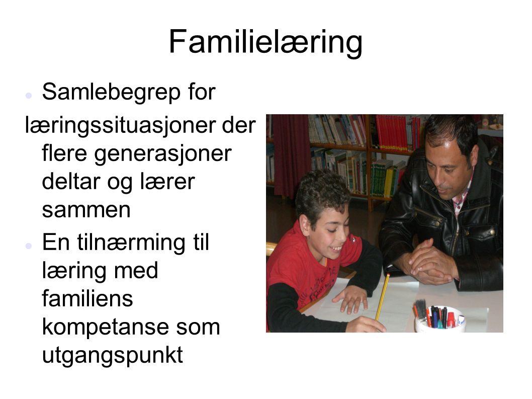 Familielæring Samlebegrep for læringssituasjoner der flere generasjoner deltar og lærer sammen En tilnærming til læring med familiens kompetanse som u